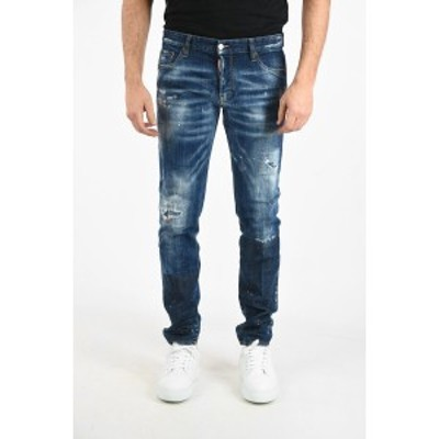DSQUARED2/ディースクエアード  メンズ 14cm Distressed Slim Fit Jeans with Paint dk