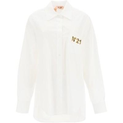 N.21/ヌメロ ヴェントゥーノ コットンシャツ BIANCO OTTICO N.21 poplin shirt with net inserts レディース 秋冬2020 G051 0605 ik