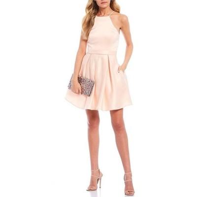 シティヴァイブ レディース ワンピース トップス Sleeveless Halter Neck Satin Fit-and-Flare Dress