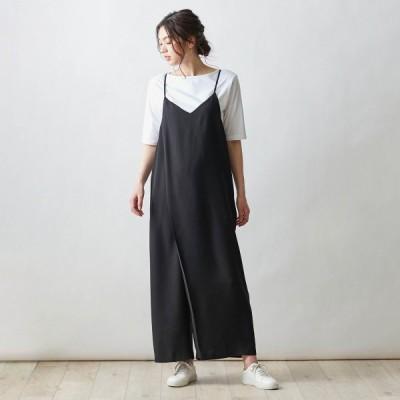 ベルメゾン ジャンパースカート見えするラップ風オールインワン ブラック S M L LL