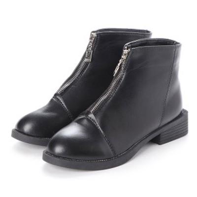 ブーツ ショートブーツ ジッパー フロントジップ ローヒール 合皮 レザー調 靴 シューズ レディース ブラック SALE セール