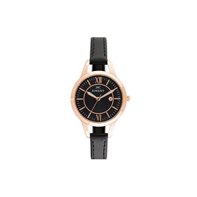 海外限定 AIMANT Women's Kyoto Rose Gold with Black Leather Band Watch LKY-180L1-1RG