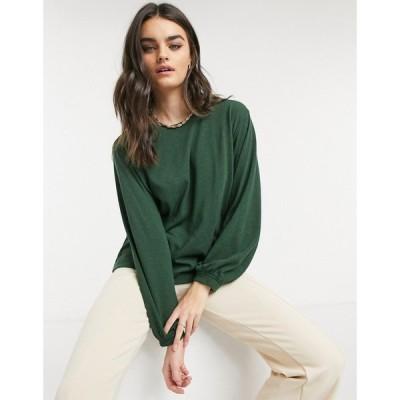 アンドアザーストーリーズ & Other Stories レディース トップス Linen Blend Long Sleeve Top In Dark Green ダークグリーン
