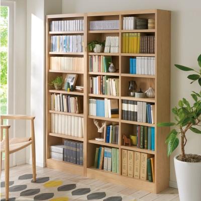 棚板の位置が選べる本棚(幅90cm本体高さ180cm) ナチュラル