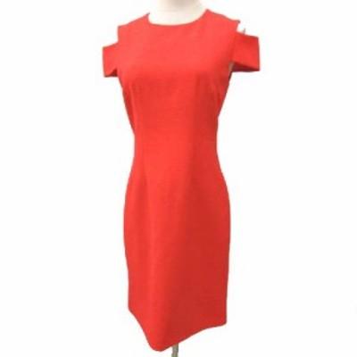 【中古】クローディピエルロ 美品 ワンピース ミニ 肩あき スリム ドレス 36 Sサイズ 赤 レッド NVW レディース