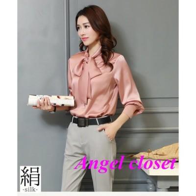 シルクシャツ 最高級正絹シルク生地シャツ ブラウス 長袖 汗取り 5色