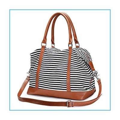 S-ZONE Women Travel Tote Canvas Weekender Bag Carryon Shoulder Duffel PU Leather Purse並行輸入品