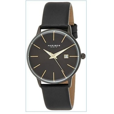Akribos XXIV Men's Domed Crystal Slim Classic Watch AK1064 Series - Three Hand with Date Genuine Leather Strap (Black)並行輸入品