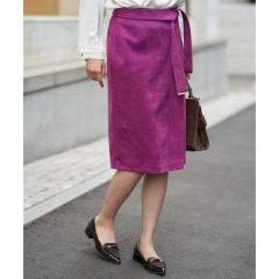 OFUON(オフオン)サッシュ付きナロータイトスカート【お取り寄せ商品】