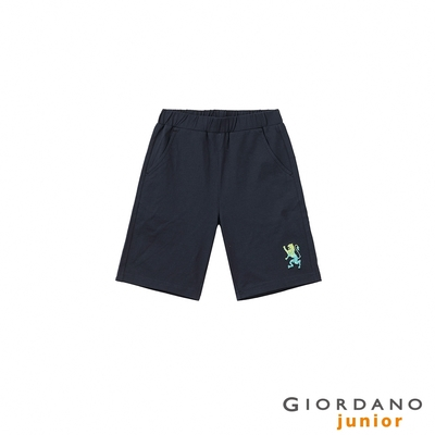 GIORDANO 童裝勝利獅王刺繡短褲 - 66 標誌海軍藍