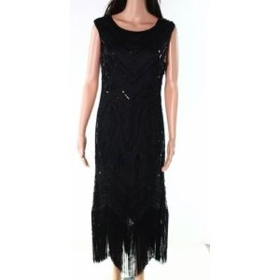 Sequin  ファッション ドレス Designer Brand NEW Black Womens Size Large L Sequin Fringe Shift Dress