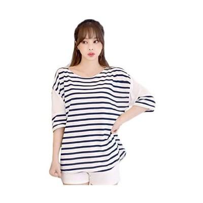 [MIKA&MAYA] 半袖 Tシャツ ボーダー ゆったり レディース    Free Size    ボーダー