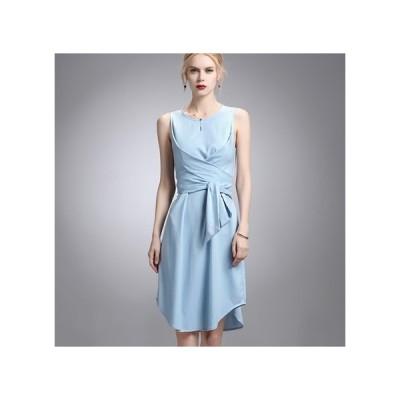 シンプル ノースリーブ パーティードレス フレアスカート ひざ丈 レディース ワンピース お呼ばれドレス kh-0599