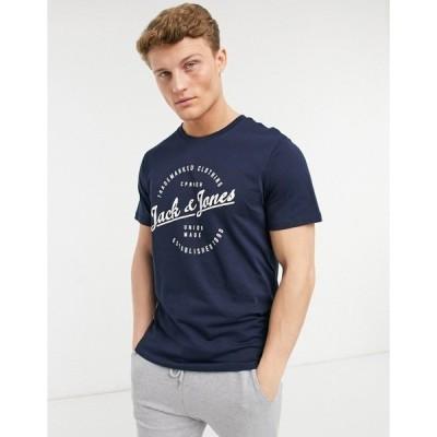 ジャック アンド ジョーンズ メンズ Tシャツ トップス Jack & Jones Originals round logo t-shirt in navy Navy