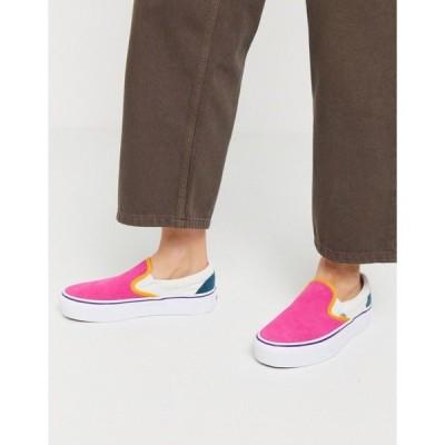 バンズ レディース スニーカー シューズ Vans Classic Slip-On Platform Color Block sneaker in multi Ord multi/true white