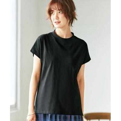 (GeeRA/ジーラ)綿100%プチハイネックTシャツ/レディース ブラック