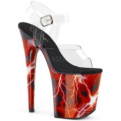 サンダル Pleaser プリーザー FLAMINGO-808STORM Clr/Red Hologram クリアー フィルム ストーム プリント 超レディース 靴 お取り寄せ商