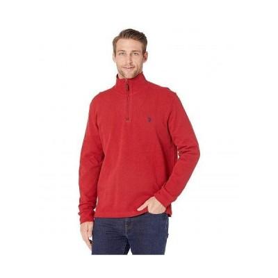 U.S. POLO ASSN. USポロ メンズ 男性用 ファッション セーター 1/4 Zip Long Sleeve Knit - Barn Red