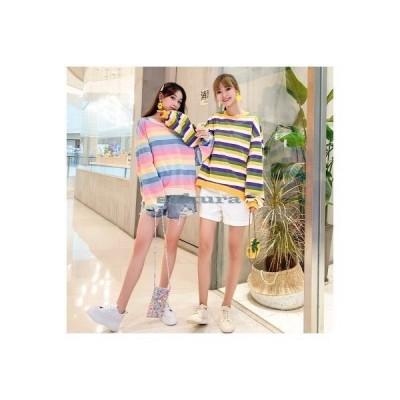 シャツ レディース ロンT ロングTシャツ サイドスリット 虹色 ボーダー柄 スクール風 トレーナー スウェット クルーネック