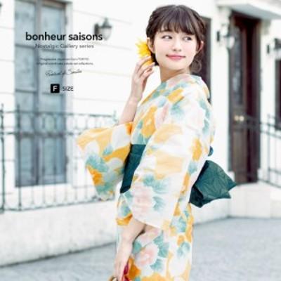 浴衣セット レディース レトロ 浴衣セット 大人 3点セット 黄色 イエロー 白 緑 椿 花 手捺染 手縫い 綿麻 半幅帯 女性 ボヌールセゾン