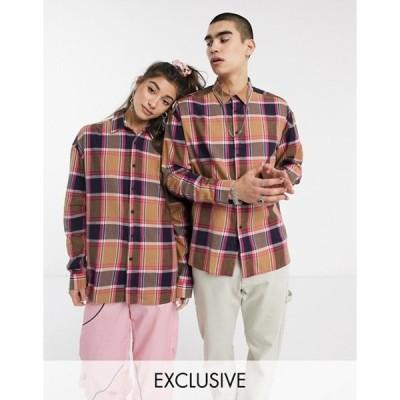コルージョン メンズ シャツ トップス COLLUSION Unisex long sleeve check shirt
