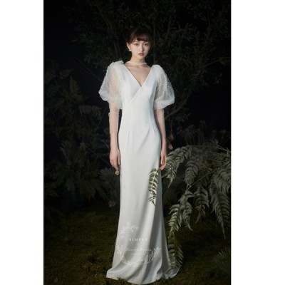 ウェディグドレス 半袖 マーメイドラインドレス 花嫁 二次会 結婚式 大きいサイズ 白 パーティードレス ロングドレス 海外挙式 オフホワイト 前撮り トレーン