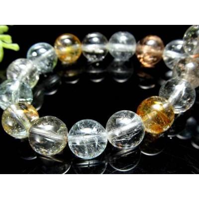 4A 超透明!ライモナイト入り MIXカラートパーズ(黄玉) ブレスレット 8mm-8.5mm×23珠 輝くキラキラ 人気のブルーやシャンパン、カラーレスも 11月の誕生石