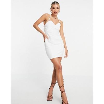 エイソス ミニドレス レディース ASOS DESIGN structured mini dress with lace up back and square neck in white エイソス ASOS ホワイト 白
