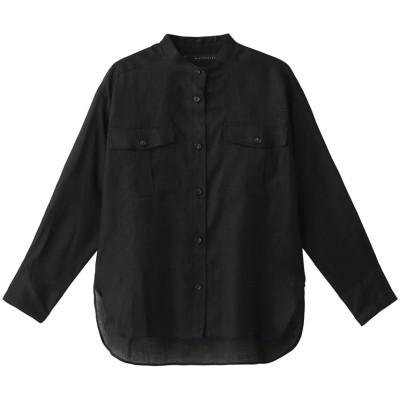 martinique マルティニーク リネンスタンドカラーシャツ レディース ブラック F