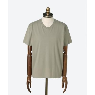 <LOOK SEA(Men)/ルクシー> シルク混素材 半袖VネックTシャツ カーキ【三越伊勢丹/公式】