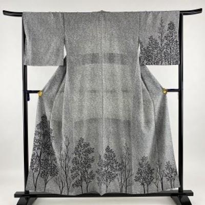 付下げ 美品 秀品 樹木 叩き染め風 黒灰 袷 身丈154.5cm 裄丈66.5cm M 正絹 中古