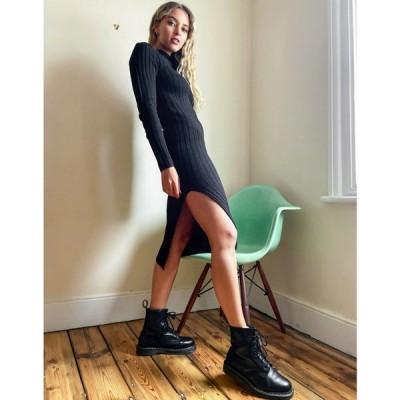ブレイブソウル Brave Soul レディース ワンピース ワンピース・ドレス Cubo Ribbed Jumper Dress With Side Split ブラック