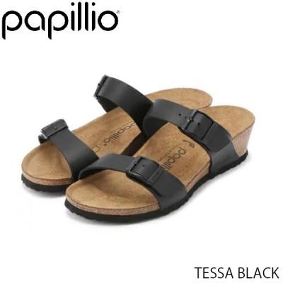 パピリオ Papillio レディース サンダル テッサ TESSA WOMEN BLACK ウェッジサンダル コンフォート つっかけ 幅狭 ナロー スムースレザー GL1015824 国内正規品