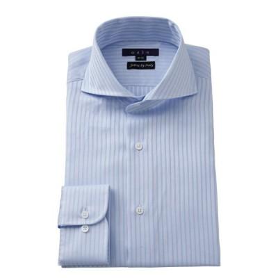 ワイシャツ メンズ 長袖 ホリゾンタルカラー スリム サックス ブルー 青 イタリア製生地 ビジネスシャツ ドレスシャツ 大きいサイズ おしゃれ