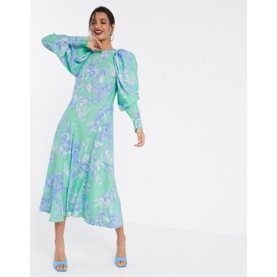 エイソス マキシドレス レディース ASOS EDITION volume sleeve midi dress in phoenix floral print エイソス ASOS マルチカラー