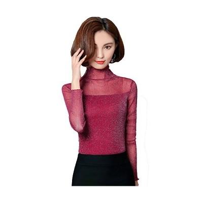レディース 長袖Tシャツ インナー 薄手 シースルー ストレッチ 大きいサイズ 修身 Tシャツ ハイネック WA347