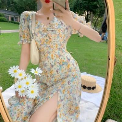 フレンチ スプリット フローラル ドレス ロング 半袖 Vネック スカート Aライン