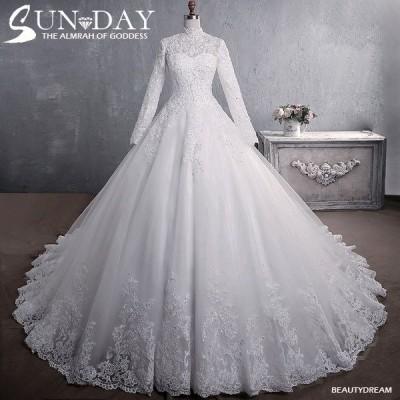 ウェディングドレス ウェディングドレス白 パーティードレス レースドレス長袖 花嫁ロングドレス 結婚式 トレーンライン 二次会 エレガント お呼ばれ 挙式hs5441