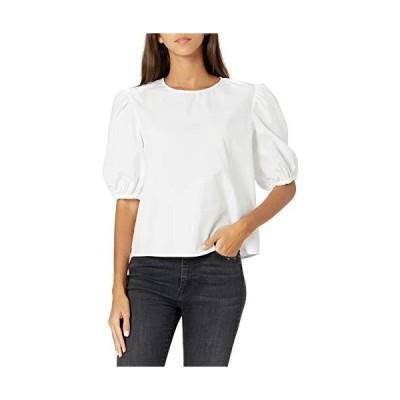 The Drop レディース Adele ルーズフィット パフ半袖ポプリンシャツ、ホワイトウォッシュ、XS
