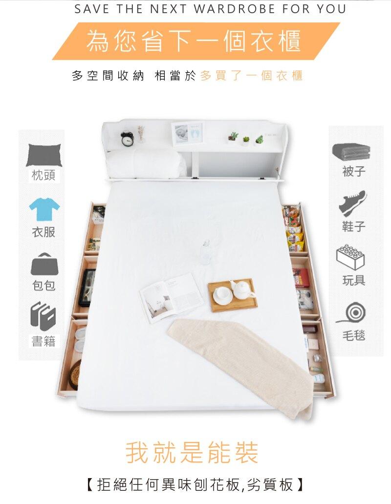 房間組/抽屜床組/收納床組 英式小屋 純白色 六大抽屜床組(附床頭插座) 3.5尺單人/5尺雙人【YUDA】
