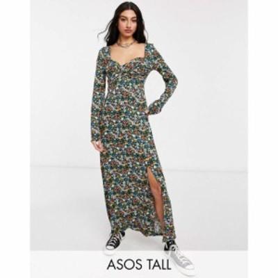 エイソス ASOS Tall レディース ワンピース ワンピース・ドレス Asos Design Tall Wrap Front Long Sleeve Split Front Maxi In Bright D