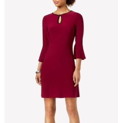 bell ベル ファッション ドレス Tommy Hilfiger Womens Dress Red Size 14 Sheath Keyhole Bell Sleeve