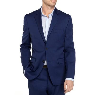 クラウン&アイビー メンズ ジャケット・ブルゾン アウター Big & Tall Solid Blue Stretch Coat