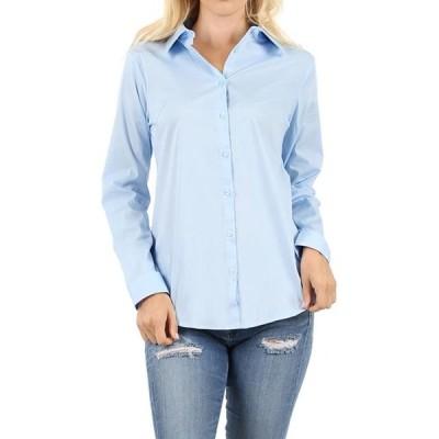 レディース 衣類 トップス Women's Basic Long Sleeve Button Down Blouse Shirt (S-3XL Missy Fit ) ブラウス&シャツ