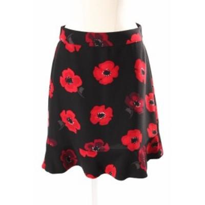 【中古】ケイトスペード KATE SPADE NJMU7899 Poppy Ruffle Crepe Skirt スカート ミニ フレア 花柄 2 黒 ブラック /TK