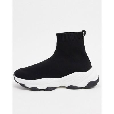 エイソス スニーカー メンズ ASOS DESIGN knitted sock trainers in black エイソス ASOS ブラック 黒