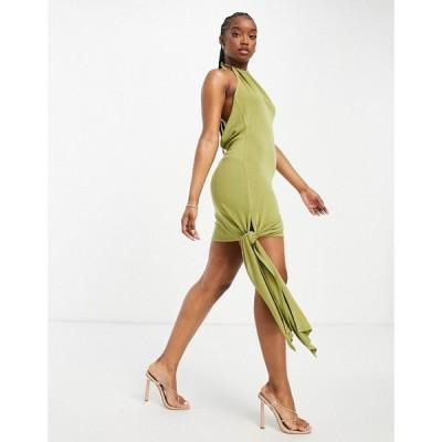エイソス ASOS Luxe レディース ワンピース ミニ丈 ワンピース・ドレス ASOS LUXE knot halter mini dress in slub in olive オリーブ