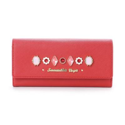 サマンサベガ フラワービジューかぶせ財布 レッド
