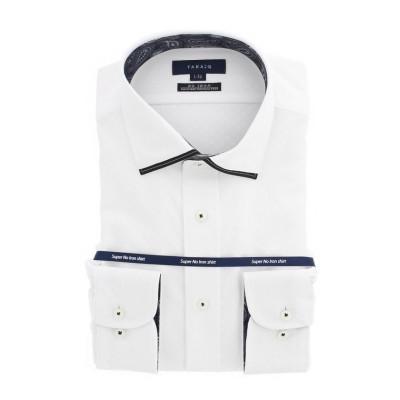 (TAKA-Q/タカキュー)ノーアイロンストレッチ レギュラーフィットワイドカラー長袖ニットシャツ/メンズ ホワイト