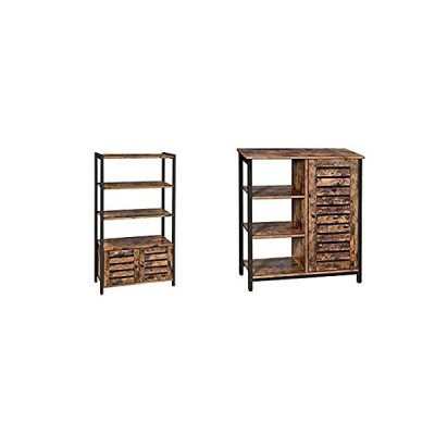 VASAGLE Lowell Bookshelf, Storage Cabinet with 3 Shelves and 2 Louvered Doo